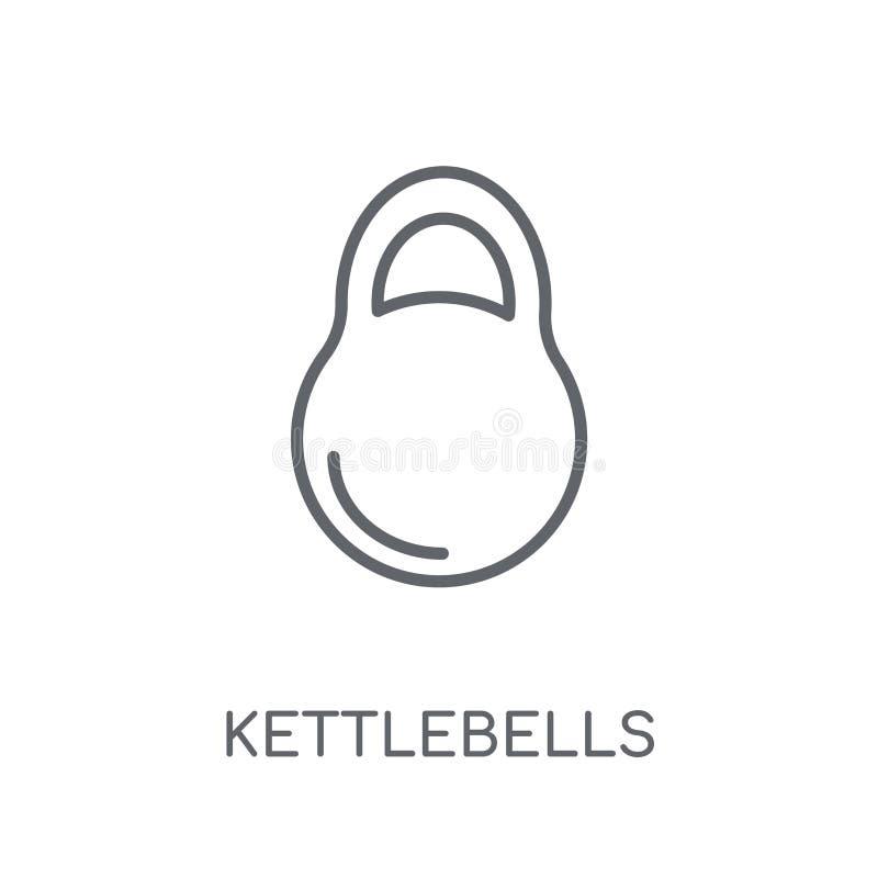 Значок Kettlebells линейный Современная концепция логотипа Kettlebells плана иллюстрация вектора