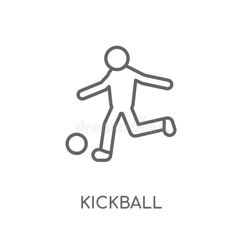 значок kickball линейный Современная концепция логотипа kickball плана на wh бесплатная иллюстрация