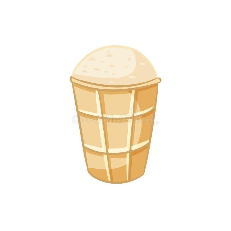 Значок lineart руки мороженого вычерченный Милый doodle мультфильма иллюстрация вектора