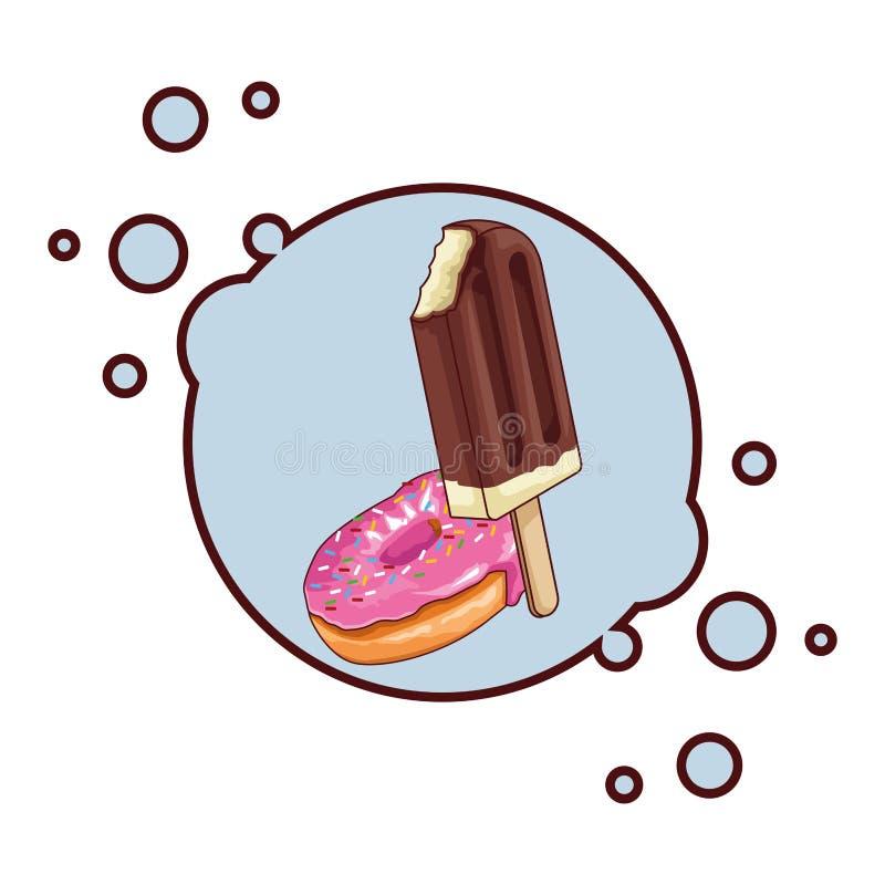 Значок lolly и донута льда круглый бесплатная иллюстрация