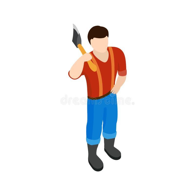 Значок Lumberjack, равновеликий стиль 3d иллюстрация вектора