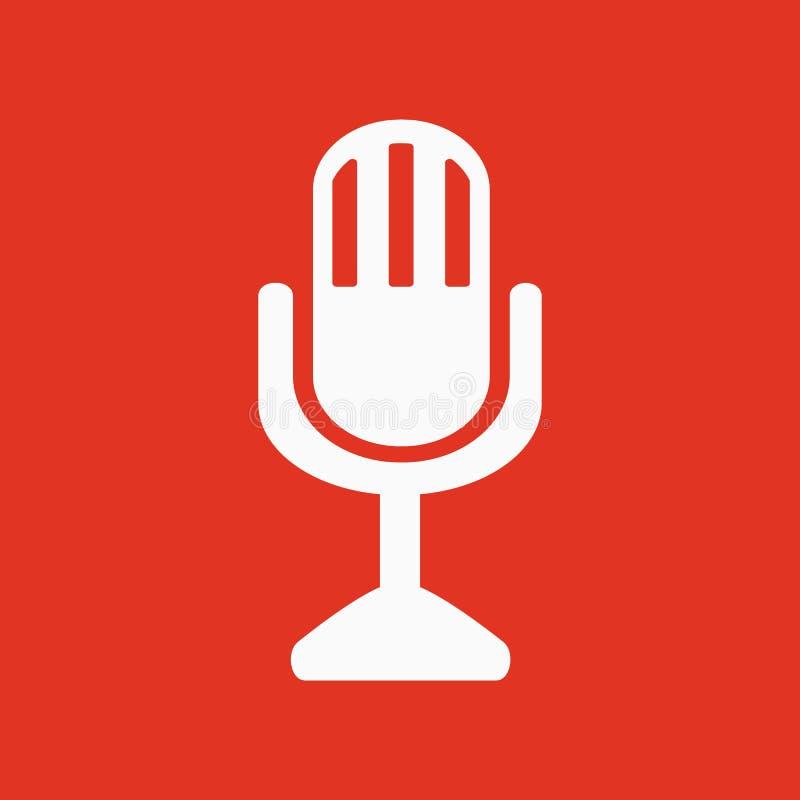 Значок mic Символ микрофона плоско иллюстрация вектора