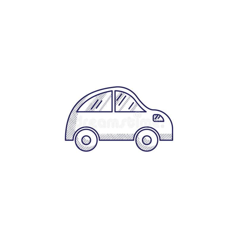 Значок Minimalistic нарисованный вручную с малым автомобилем Насиженный значок сети иллюстрация штока
