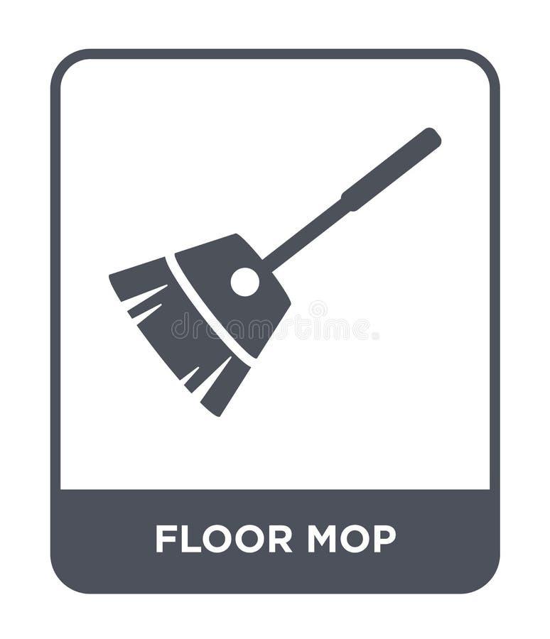 значок mop пола в ультрамодном стиле дизайна значок mop пола изолированный на белой предпосылке квартира значка вектора mop пола  иллюстрация штока