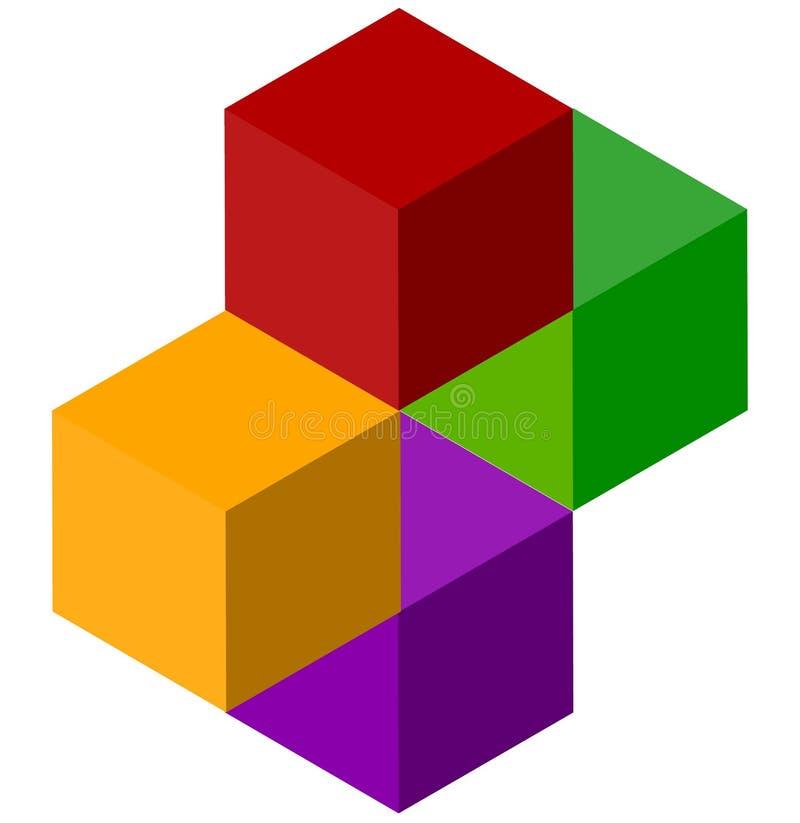 Download Значок Multicolor равновеликих кубов Логотип стога куба Иллюстрация вектора - иллюстрации насчитывающей кубики, габаритно: 81811637