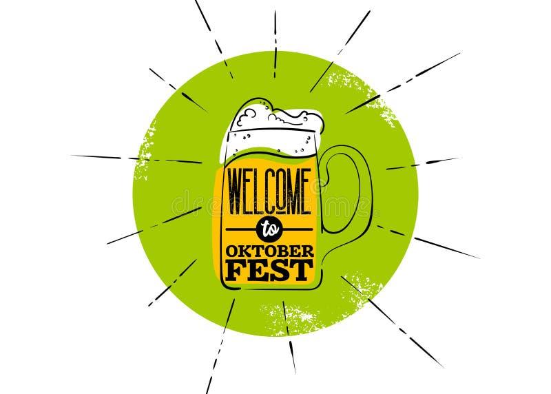 Значок Octoberfest плоский Зеленый значок с лучами, кружка пива иллюстрация вектора