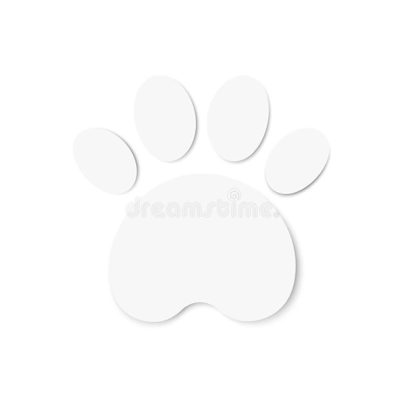Значок Paw print Белая наклейка иллюстрация вектора