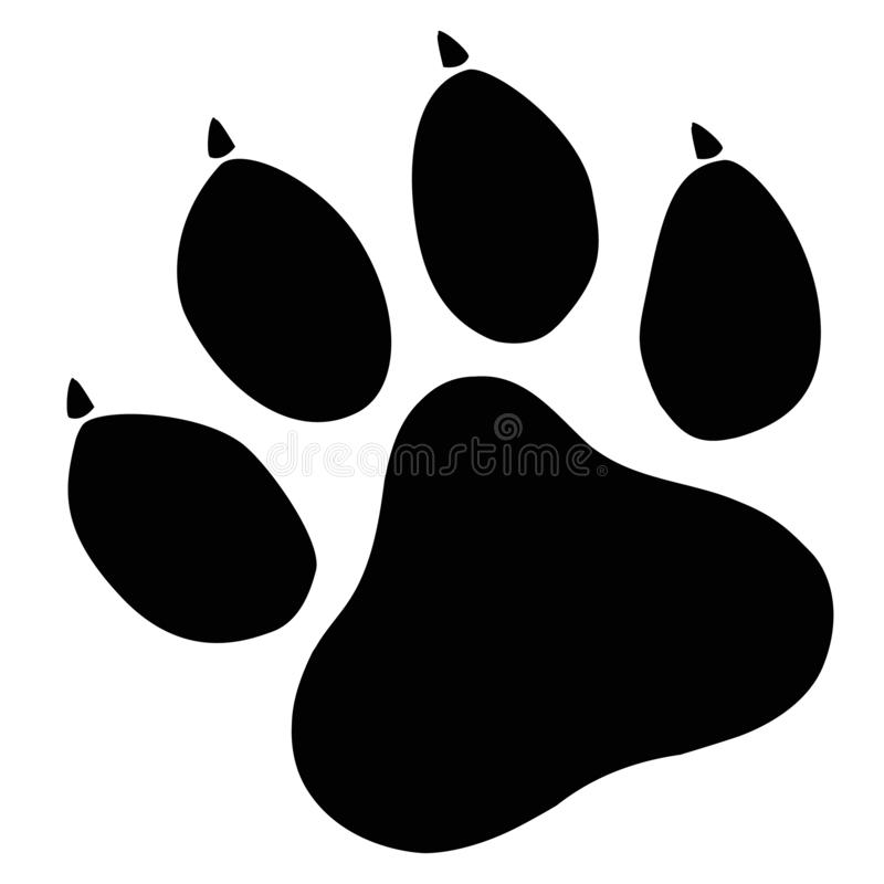 Значок 'Paw print' на белом фоне плоский стиль символ 'собака, кошка', 'пиво лап' Знак для печати черной лапы логотип для отпечат иллюстрация вектора
