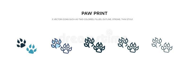 Значок 'Paw print' на иллюстрации другого вектора стиля два цветных и черных векторных иконки с черной лапой, спроектированные в  иллюстрация штока