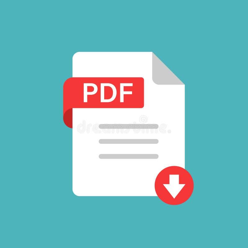 Значок PDF в плоском стиле Иллюстрация вектора текста документа на белой изолированной предпосылке Концепция дела архива иллюстрация штока