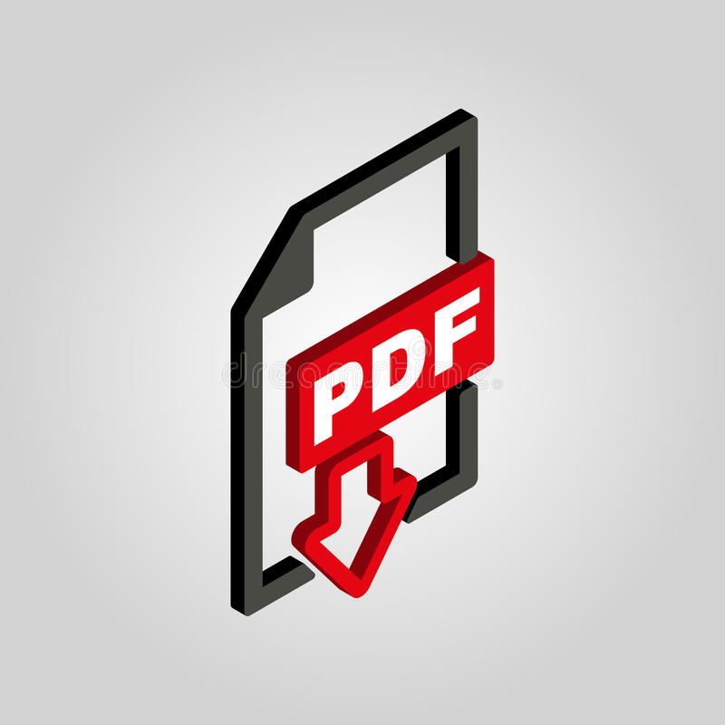 Значок PDF равновеликий символ формата файла 3D Плоский вектор иллюстрация вектора