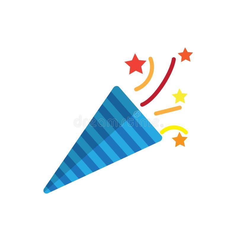 Значок popper Confetti плоский, заполненный знак вектора, красочная пиктограмма изолированная на белизне иллюстрация вектора