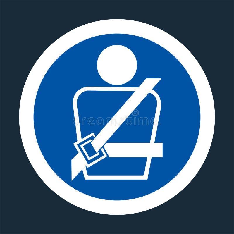 Значок PPE Носить знак символа ремня безопасности на черной предпосылке, llustration вектора бесплатная иллюстрация