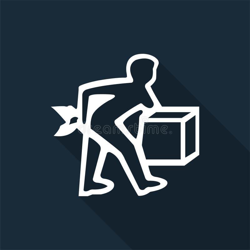 Значок PPE Поднимите правильно изолят знака символа на черной предпосылке, иллюстрации вектора бесплатная иллюстрация