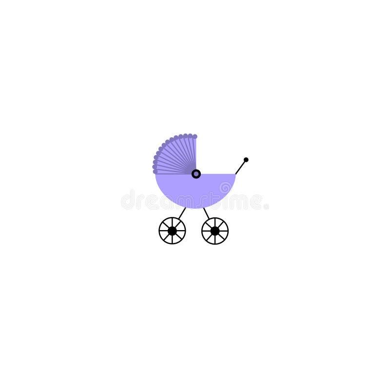 Значок pram сини младенца изолированный на белой предпосылке также вектор иллюстрации притяжки corel иллюстрация вектора