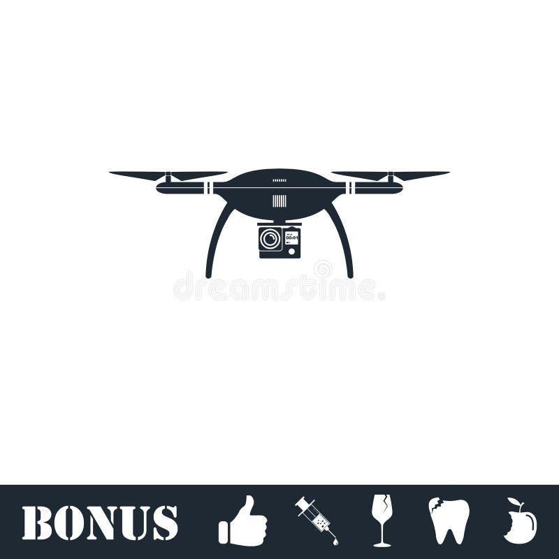 Значок quadrocopter трутня плоско иллюстрация вектора