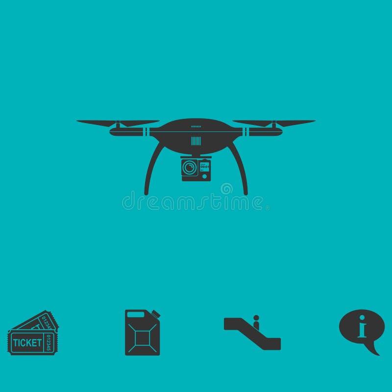 Значок quadrocopter трутня плоско бесплатная иллюстрация