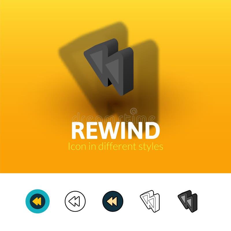 Значок Rewind в различном стиле бесплатная иллюстрация