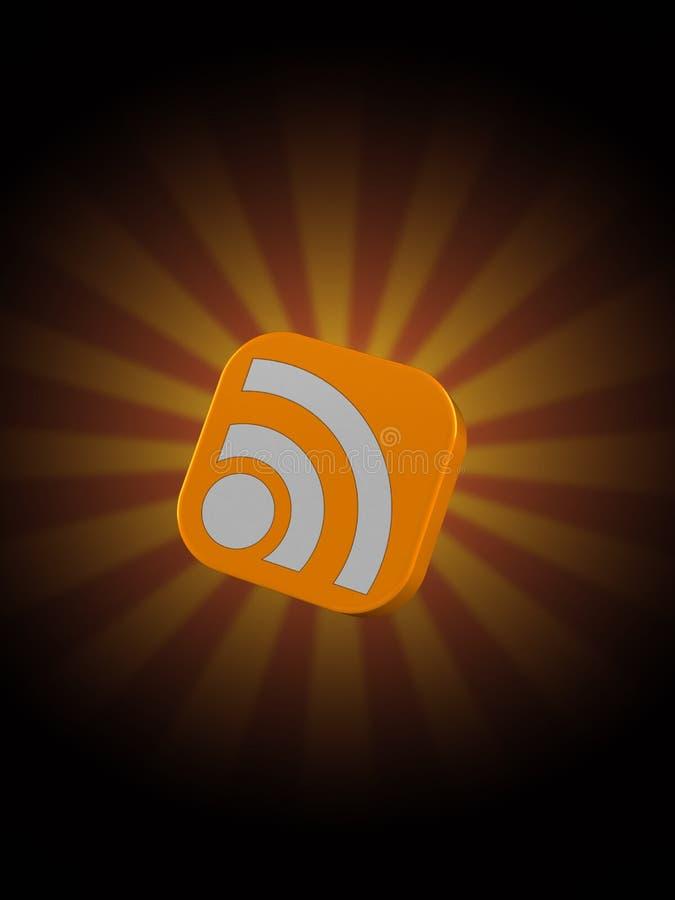 Значок RSS на предпосылке лучей бесплатная иллюстрация