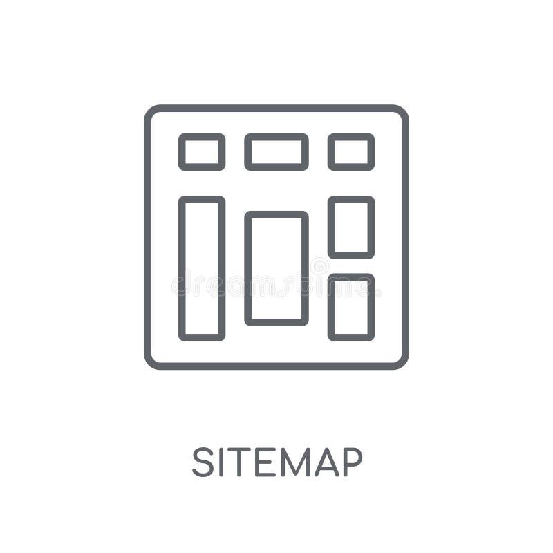Значок Sitemap линейный Современная концепция логотипа Sitemap плана на whit бесплатная иллюстрация