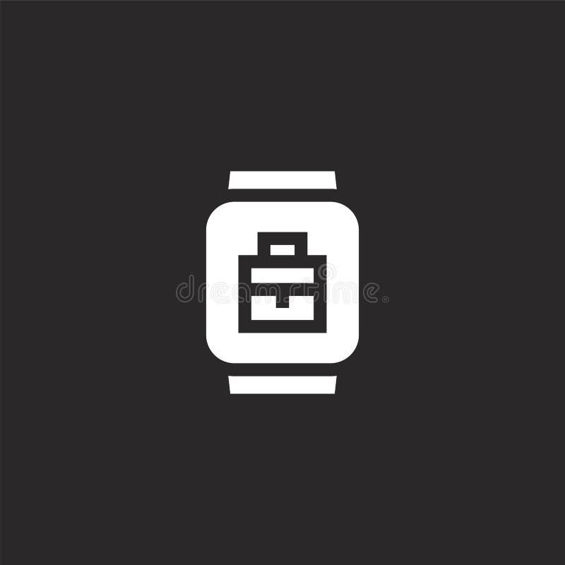 значок smartwatch Заполненный значок smartwatch для дизайна вебсайта и черни, развития приложения значок smartwatch от заполненно иллюстрация штока