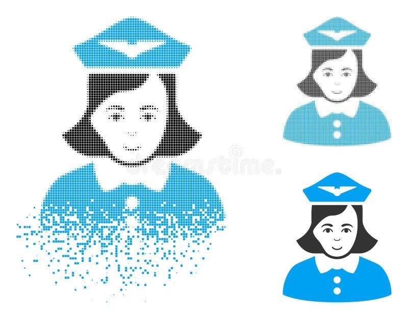 Значок Stewardess авиакомпании полутонового изображения пиксела искры с стороной бесплатная иллюстрация