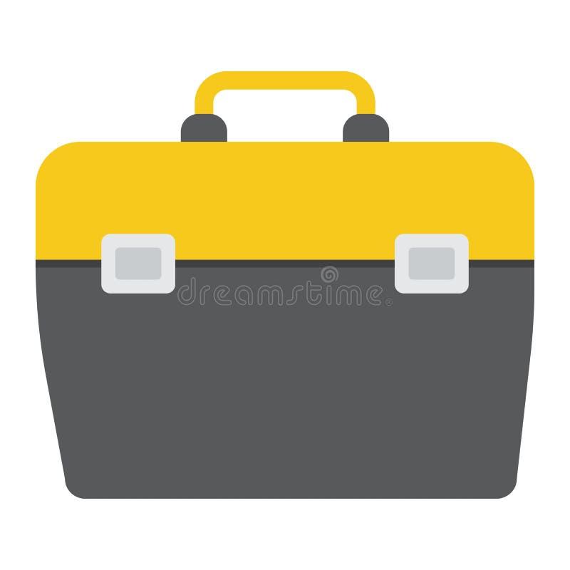 Значок Toolbox плоские, строение и ремонт, знак набора инструментов иллюстрация вектора