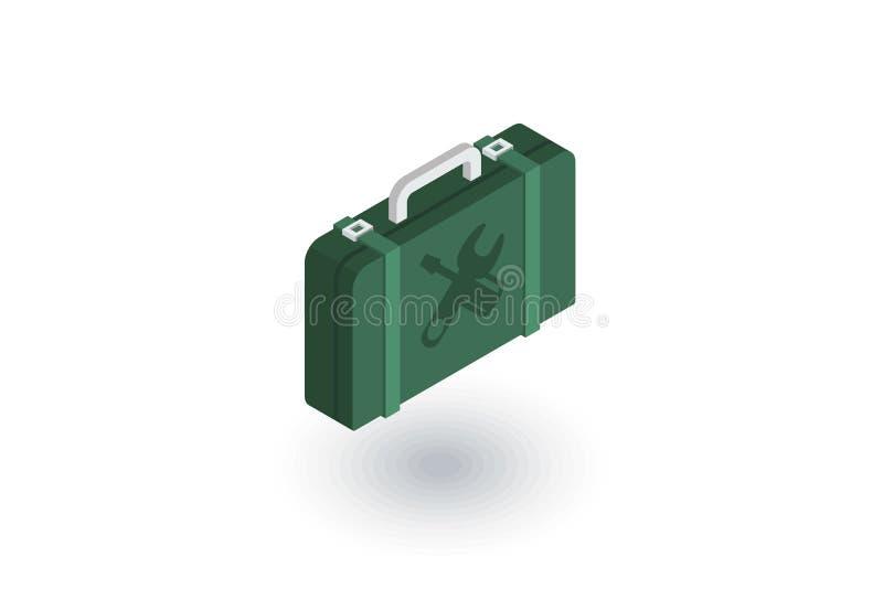 Значок Toolbox равновеликий плоский вектор 3d иллюстрация вектора