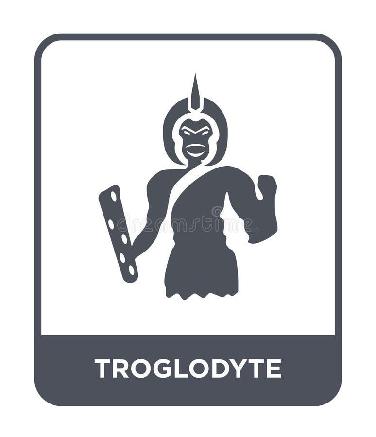 значок troglodyte в ультрамодном стиле дизайна значок troglodyte изолированный на белой предпосылке значок вектора troglodyte про иллюстрация вектора