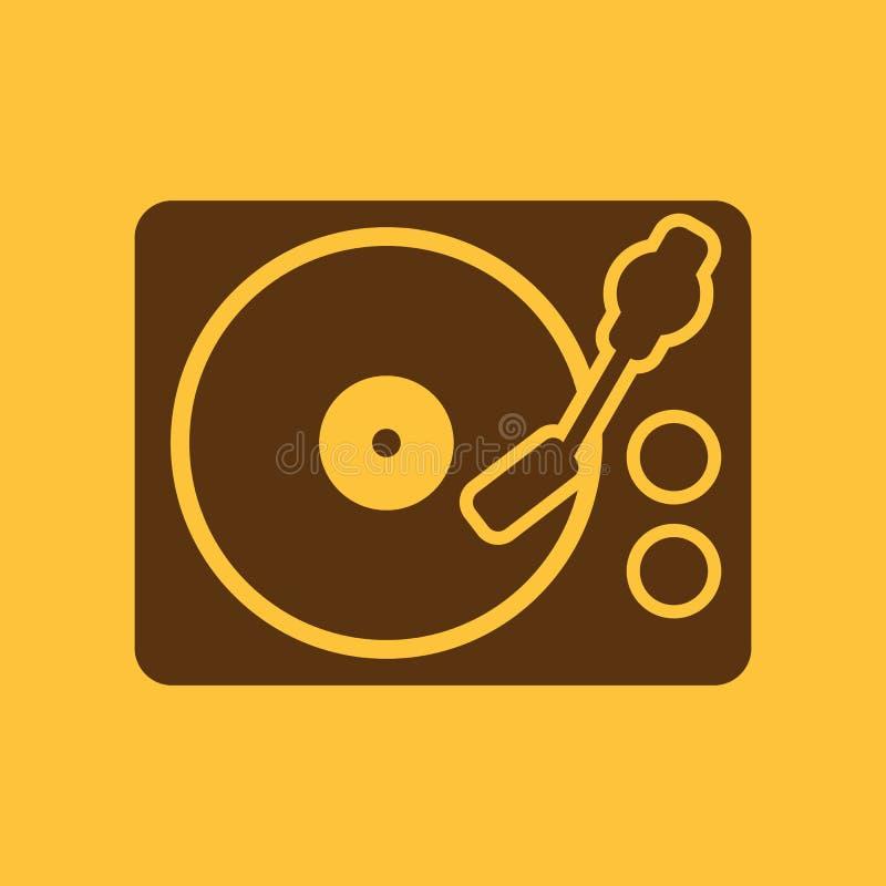 Значок turntable DJ и мелодия, музыка, символ игрока плоско иллюстрация вектора