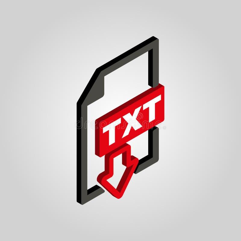 Значок TXT 3D равновеликое Символ формата текстового файла Плоский вектор иллюстрация вектора