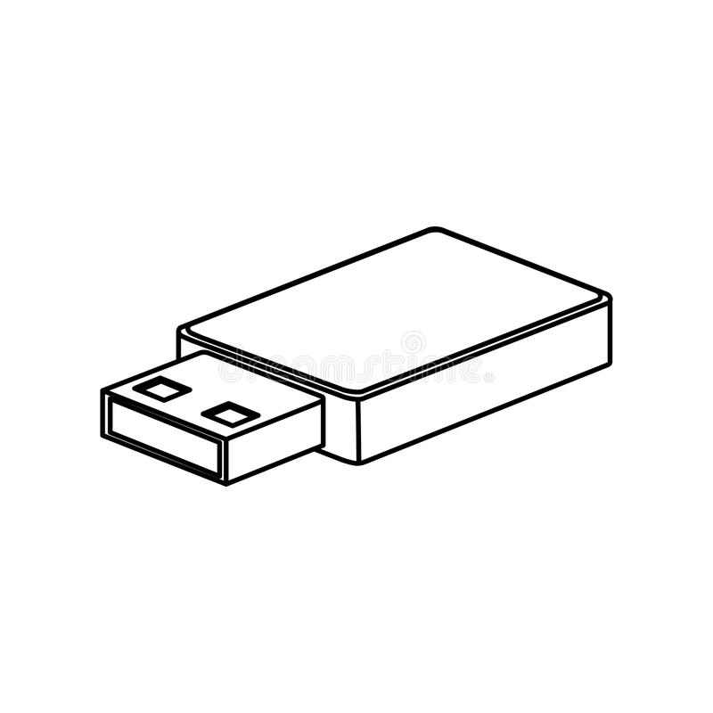 Значок Usb Тема оборудования и оборудования технологии соединения Изолированный дизайн бесплатная иллюстрация