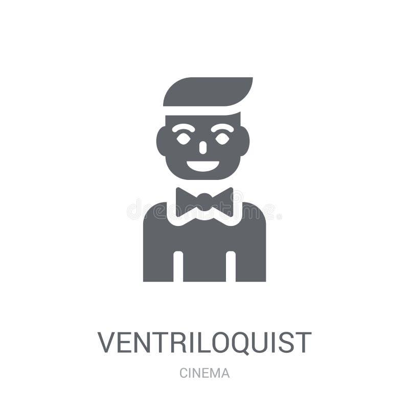 Значок Ventriloquist Ультрамодная концепция логотипа Ventriloquist на белом b иллюстрация вектора