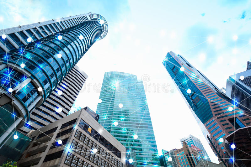 Значок Wifi и scape и сетевое подключение города концепция стоковые изображения rf