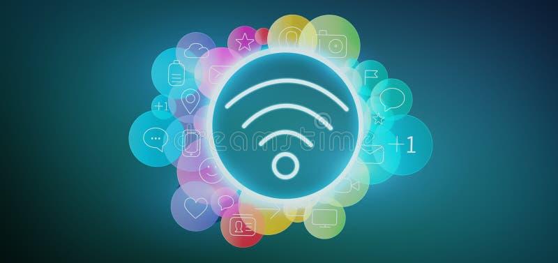 Значок Wifi окружая renderin значка 3d средств массовой информации colorfull социальным бесплатная иллюстрация