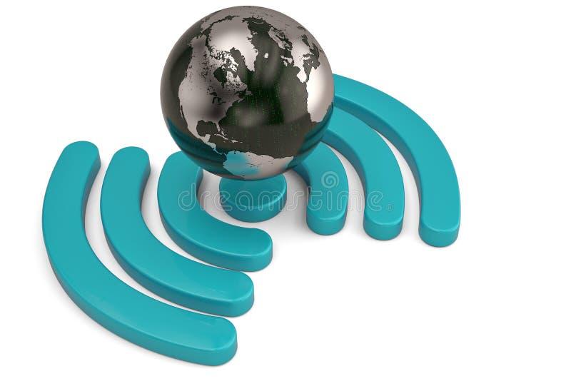 Значок Wifi при глобус изолированный на белой предпосылке illustrati 3d иллюстрация штока