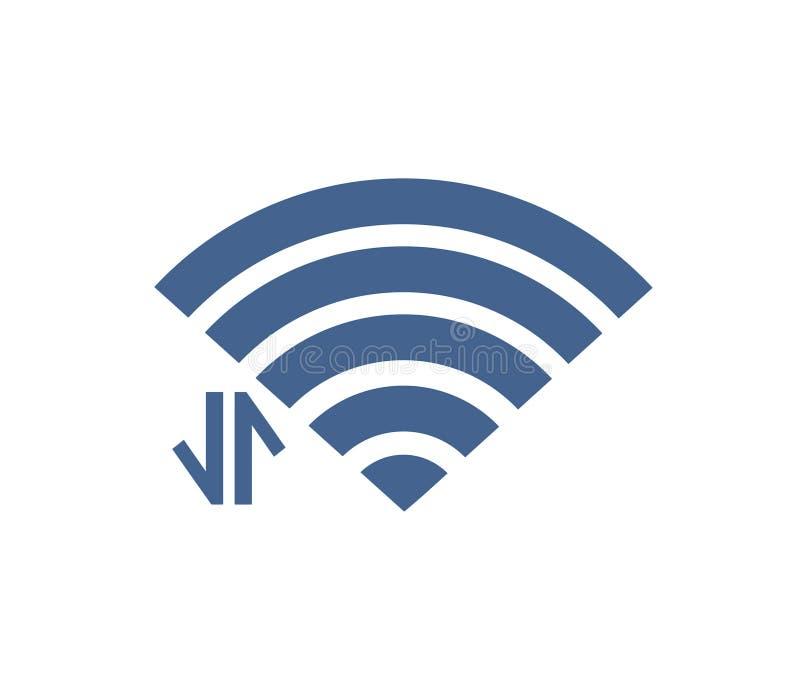 Значок Wifi с со знаком соединения иллюстрация штока