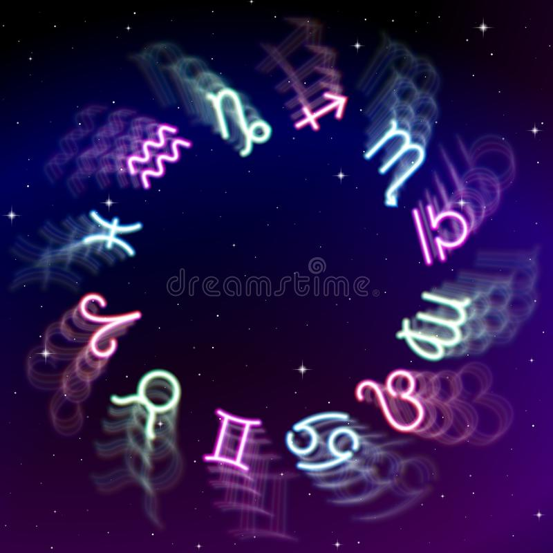 Зодиак астрологии подписывает колесо с 12 красочными символами в космосе Польностью astrologic год бесплатная иллюстрация