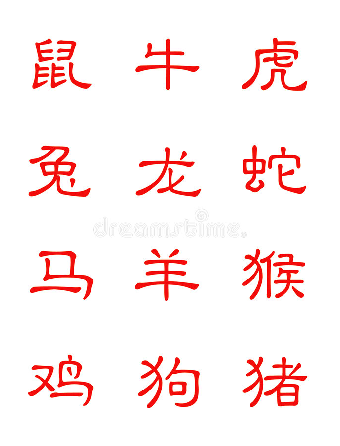 зодиак в китайском характере иллюстрация вектора