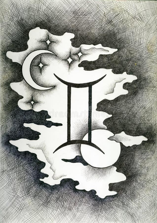 Зодиак подписывает Джемини Рука нарисованная с щеткой чернил также вектор иллюстрации притяжки corel стоковое фото