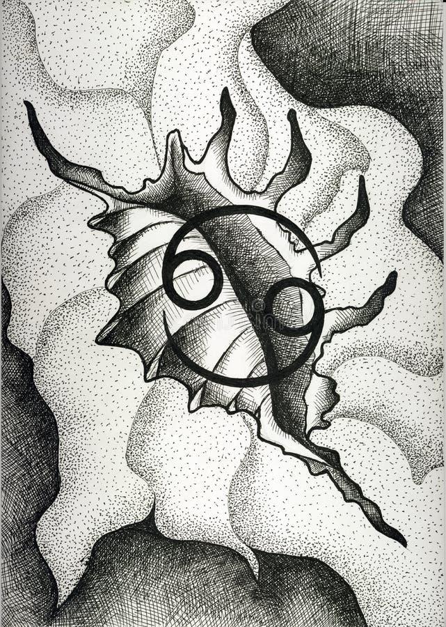Зодиак подписывает Карциному Рука нарисованная с щеткой чернил также вектор иллюстрации притяжки corel стоковые фото