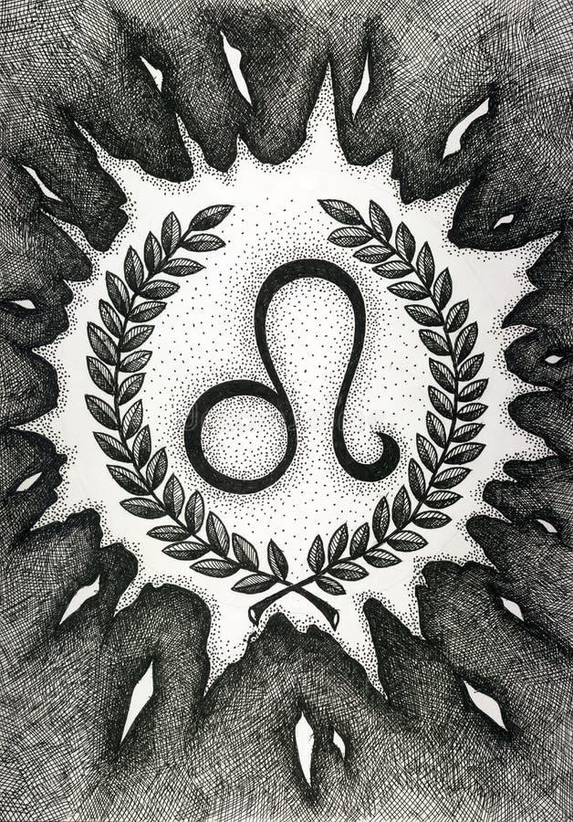 Зодиак подписывает Лео Рука нарисованная с щеткой чернил также вектор иллюстрации притяжки corel стоковое фото rf