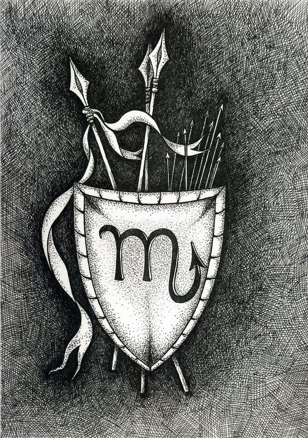Зодиак подписывает Scorpio Рука нарисованная с щеткой чернил также вектор иллюстрации притяжки corel стоковые фотографии rf