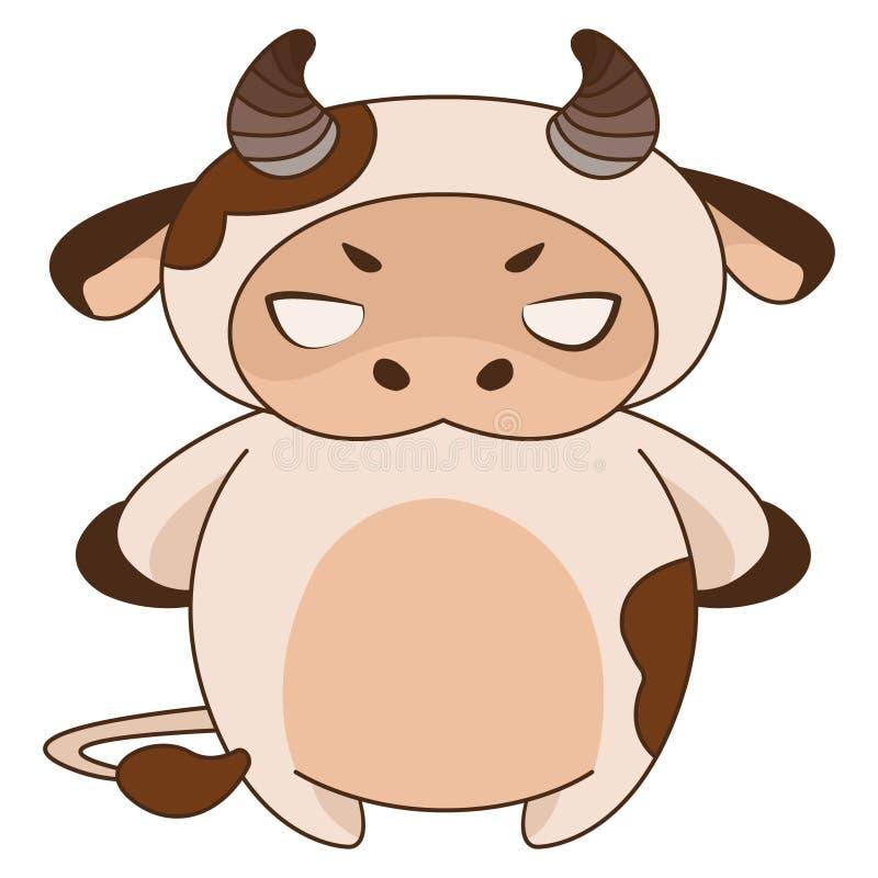 Cartoon illustration of an angry calf. Zodiac sign Taurus. stock illustration