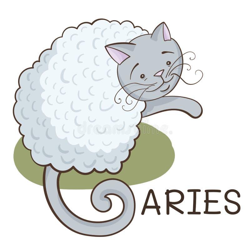 Зодиак Aries; кот мультфильма стилизованный как зодиак aries; курчавая иллюстрация кота; иллюстрация EPS10 вектора иллюстрация штока