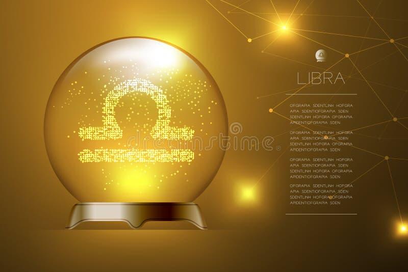 Зодиак Libra подписывает внутри волшебный стеклянный шарик, иллюстрацию дизайна концепции рассказчика удачи иллюстрация вектора