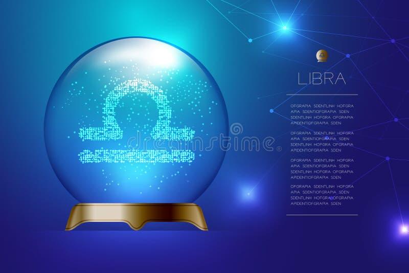 Зодиак Libra подписывает внутри волшебный стеклянный шарик, концепцию de рассказчика удачи иллюстрация штока