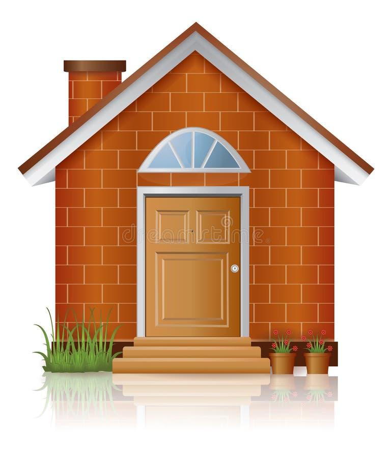 Зодчество дома красного кирпича с печной трубой иллюстрация вектора