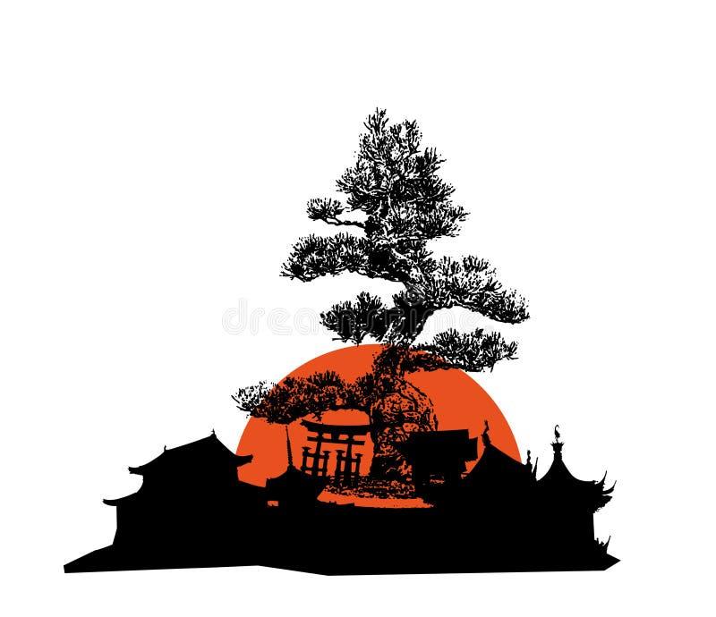 зодчество япония иллюстрация штока