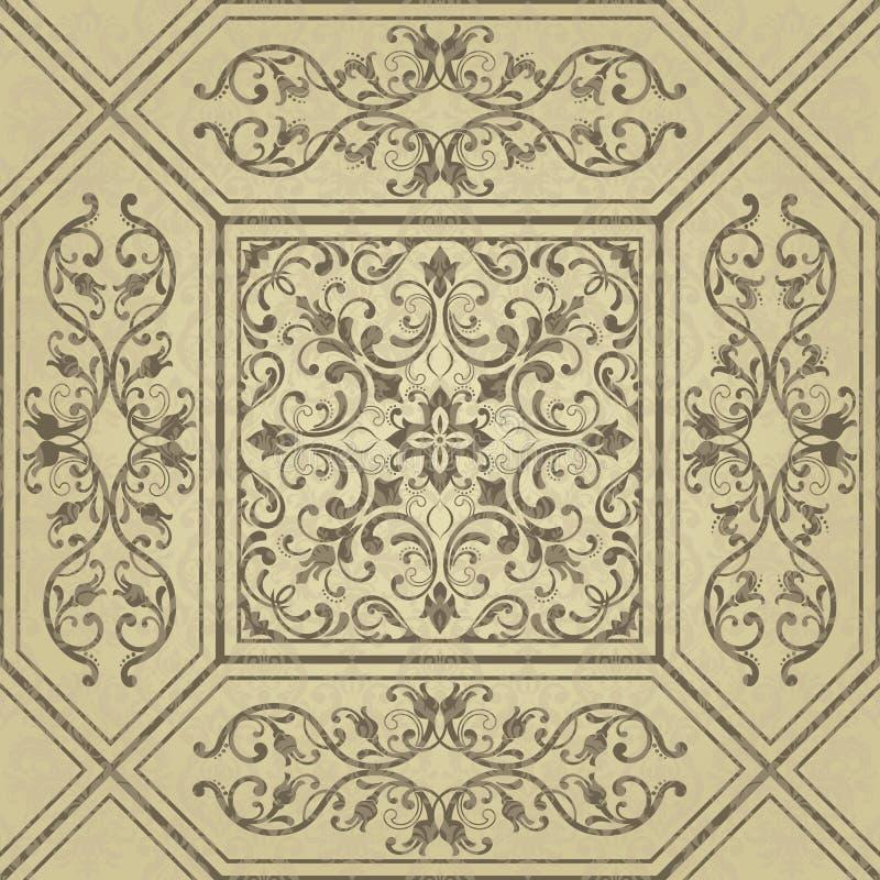 Золотая абстрактная картина в арабском стиле Безшовная предпосылка вектора с флористическими плитками Элегантная текстура золота  иллюстрация вектора